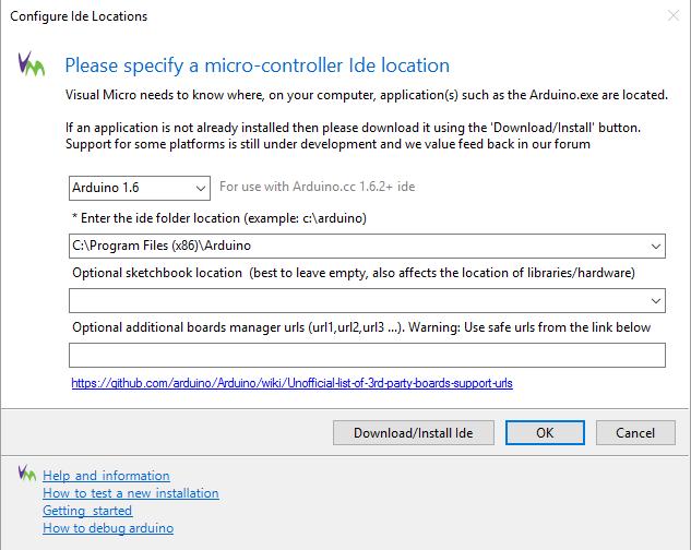 paramétrage Visual Micro