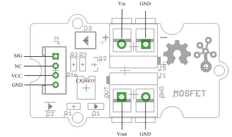 Câblage du module MOSFET Grove 103020008