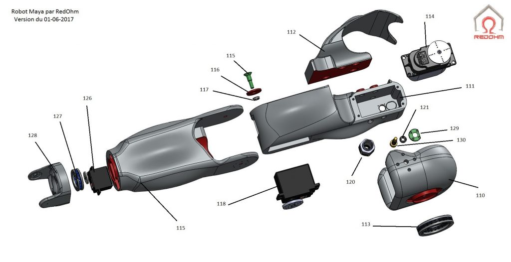 Maya vue du bras gauche éclatée Version du 01-06-2017 RedOhm