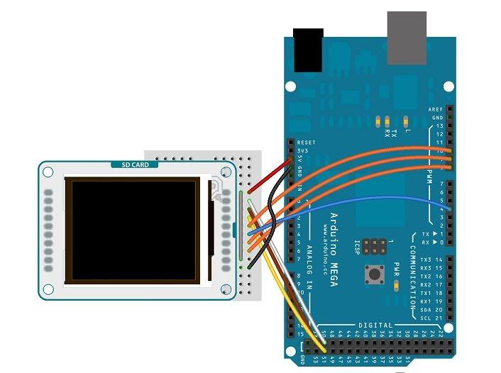 Schéma de raccordement de l'afficheur sur un Arduino 2560 - RedOhm