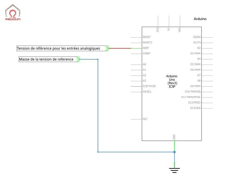 AREF : Schéma de raccordement de la référence de tension - Arduino Uno Rev3