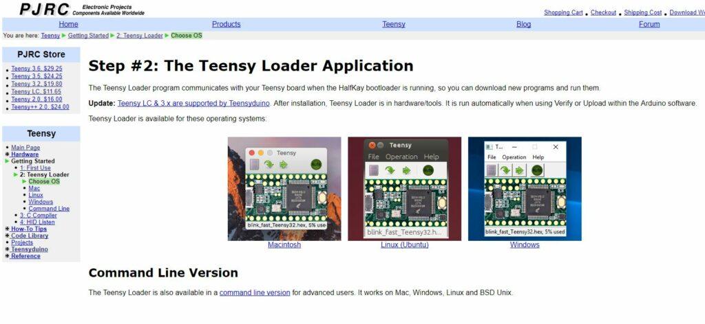 Page pour télécharger la dernier version de la carte Teensy ( capture du 17/08/2017 )