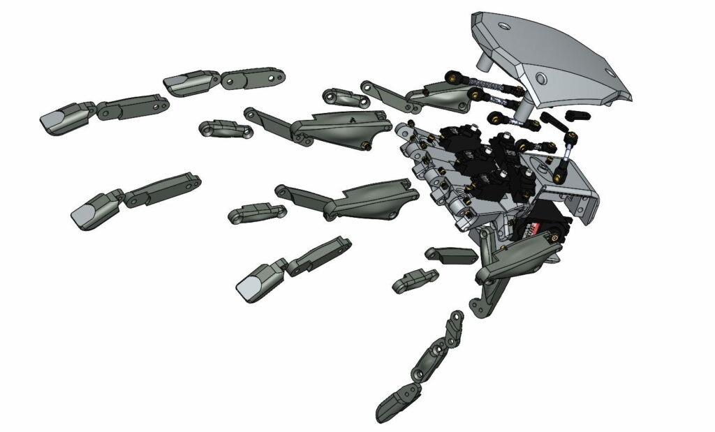 Vue éclatée de la main du Robot Maya - RedOhm