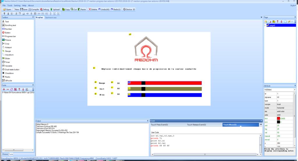 Paramétrage pour la barre de progression pour le rouge - RedOhm -