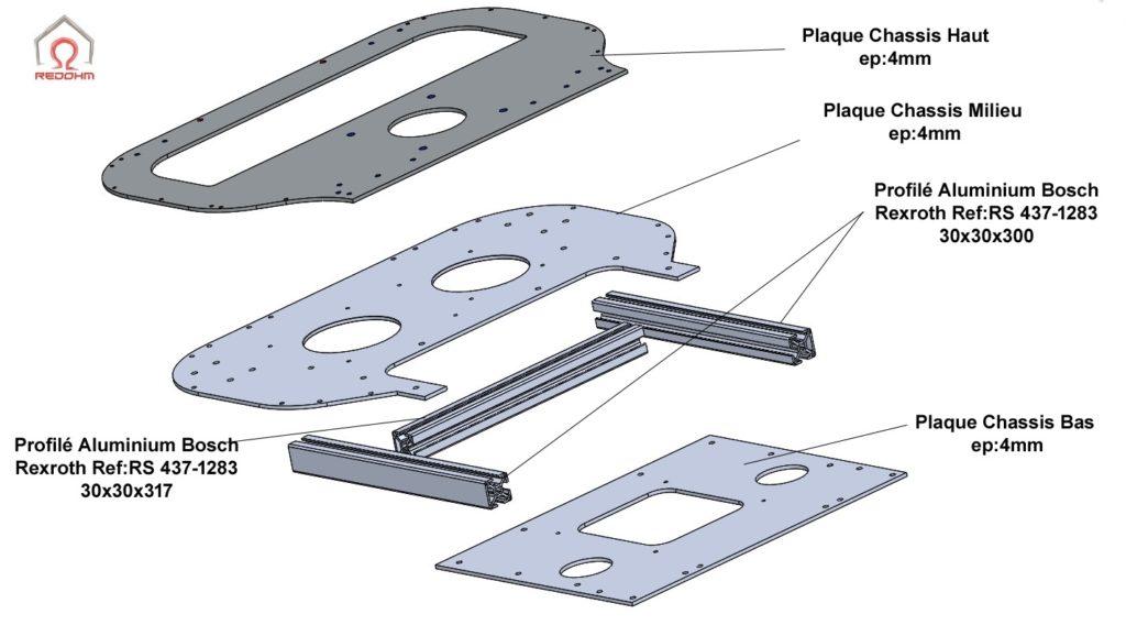 Ensemble des pieces mécanique du châssis de Nestor - 002