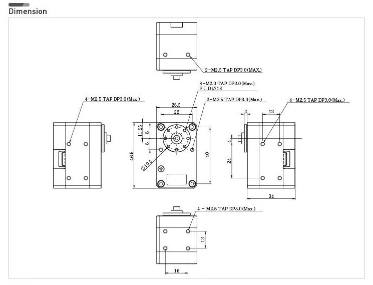 Dimension servo XM430-W350-T