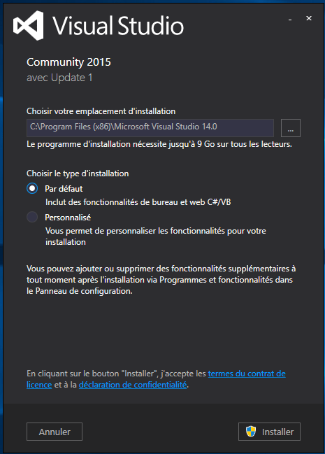 Installation Visual Studio Community Edition
