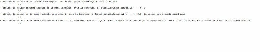 Affichage de nombres décimaux non entier sur le moniteur série.