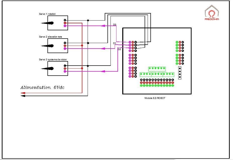 Maya câblage du module EZ-Robot pour le pilotage de la tète RedOhm