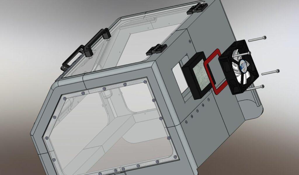 Vue éclatée du capot pour l'imprimante Zortrax M200 RedOhm fig 03