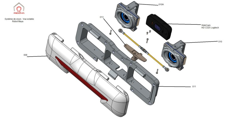 Vue eclatée du systéme de vision Robot Maya Version 2.00 - RedOhm -