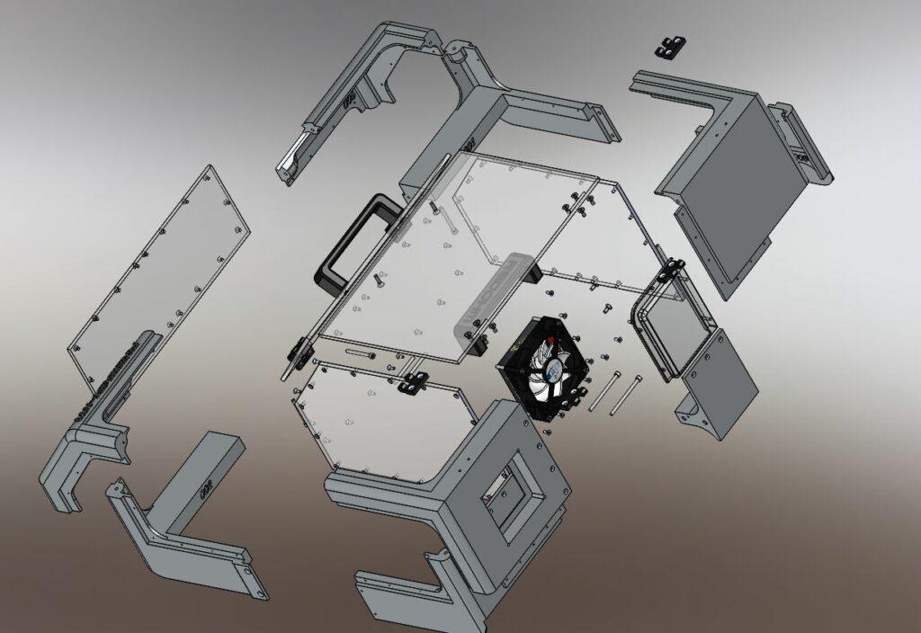 Vue éclatée du capot pour l'imprimante Zortrax M200 RedOhm