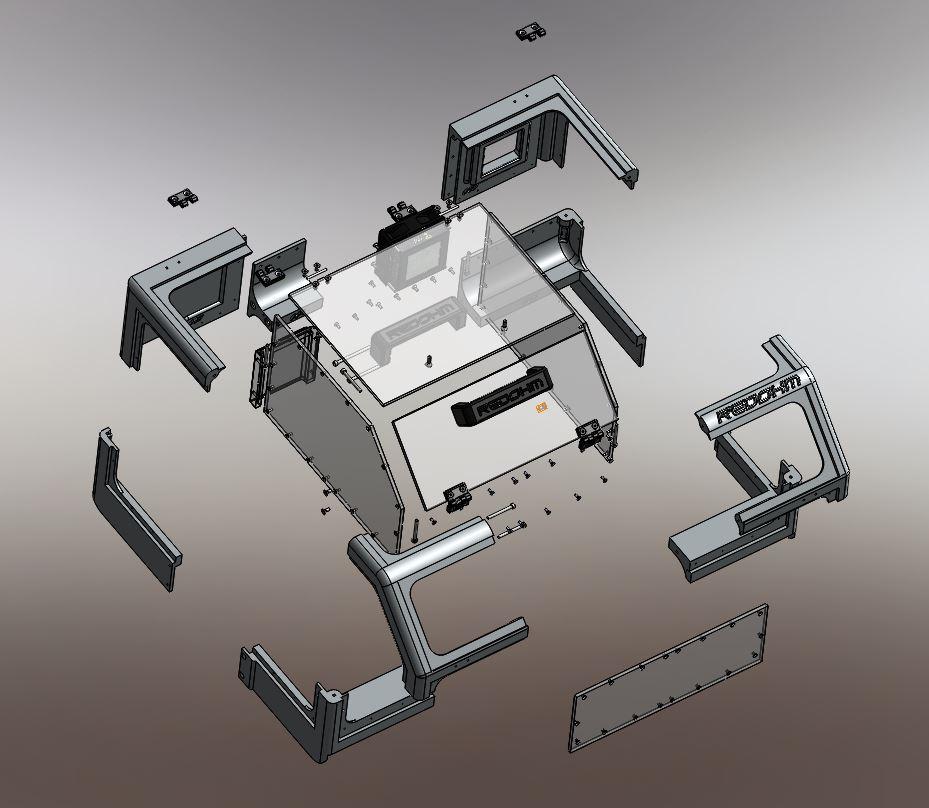 Vue éclatée du capot pour l'imprimante Zortrax M200 RedOhm fig 02