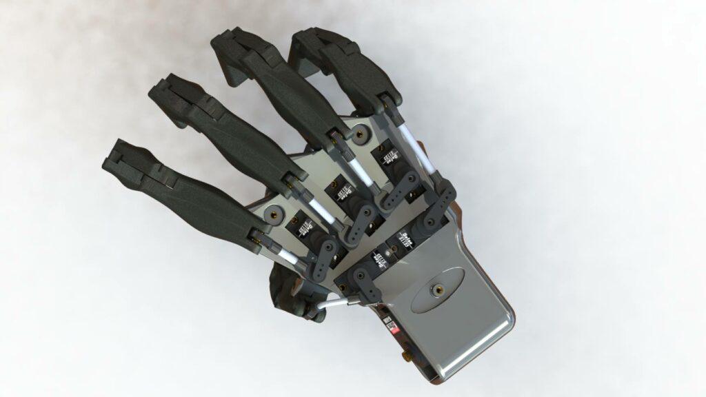 Vue des servomoteurs pour les doigts de Maya - RedOhm
