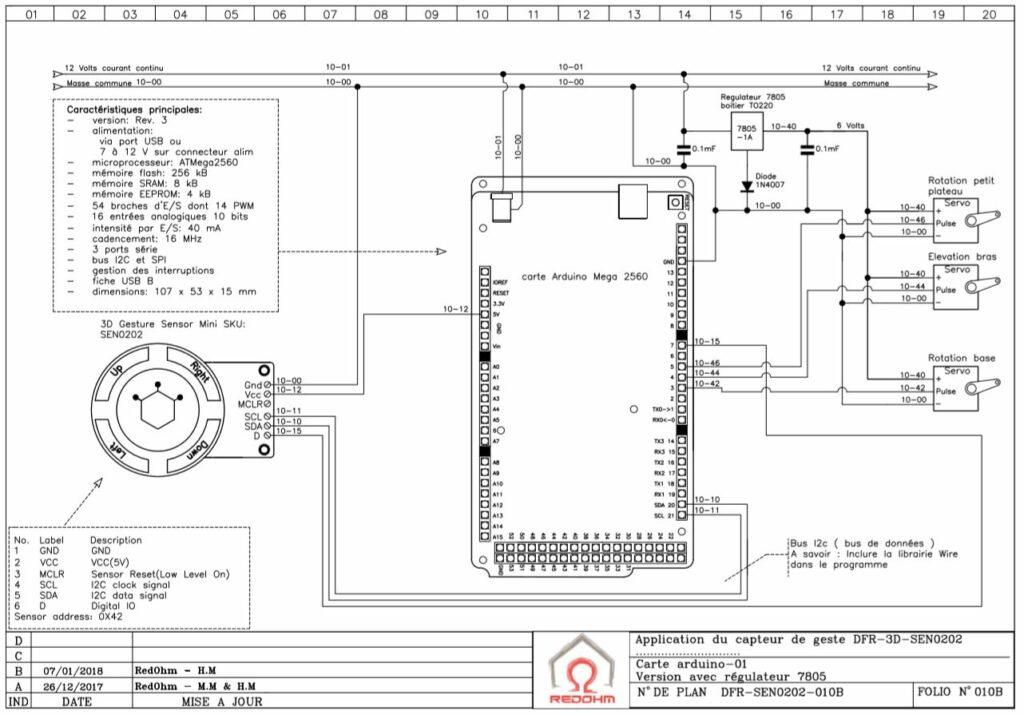 Schéma de cablage de la tourelle 3 axes.Version avec un régulateur 5V