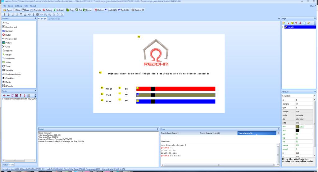 Paramétrage pour la barre de progression pour le vert - RedOhm -