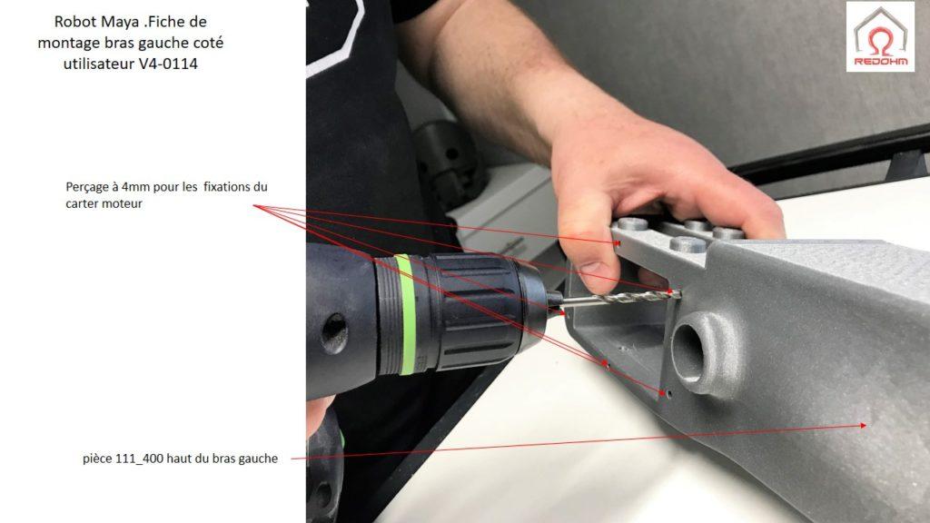 Robot Maya .Fiche de montage bras gauche coté utilisateur V4-0114