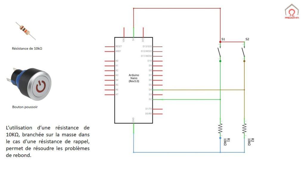 Schéma de principe pour le câblage sur 2 entrées numériques